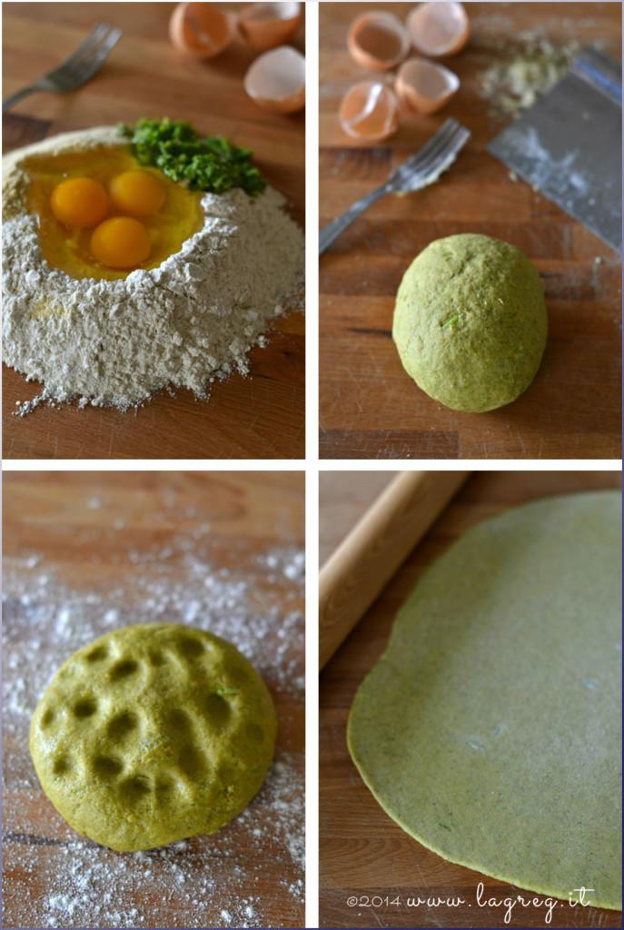 lasagne ai broccoli con porri e triglie alle nocciole