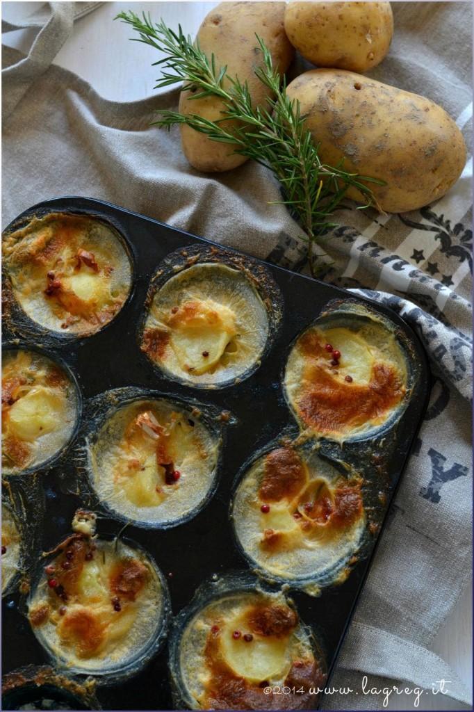tortini di patate, porri e gruyere