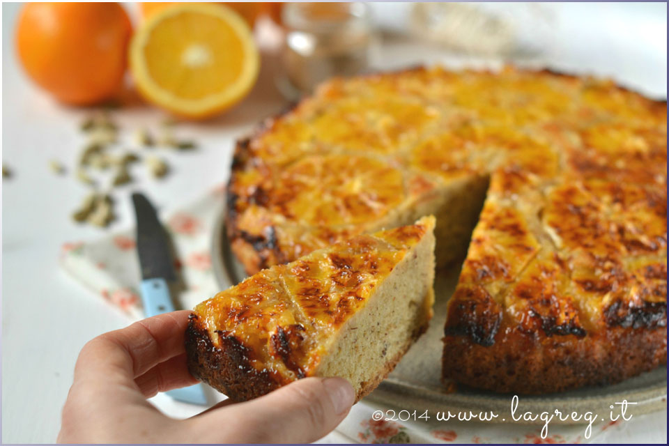 torta rovesciata all'arancia e cardamomo