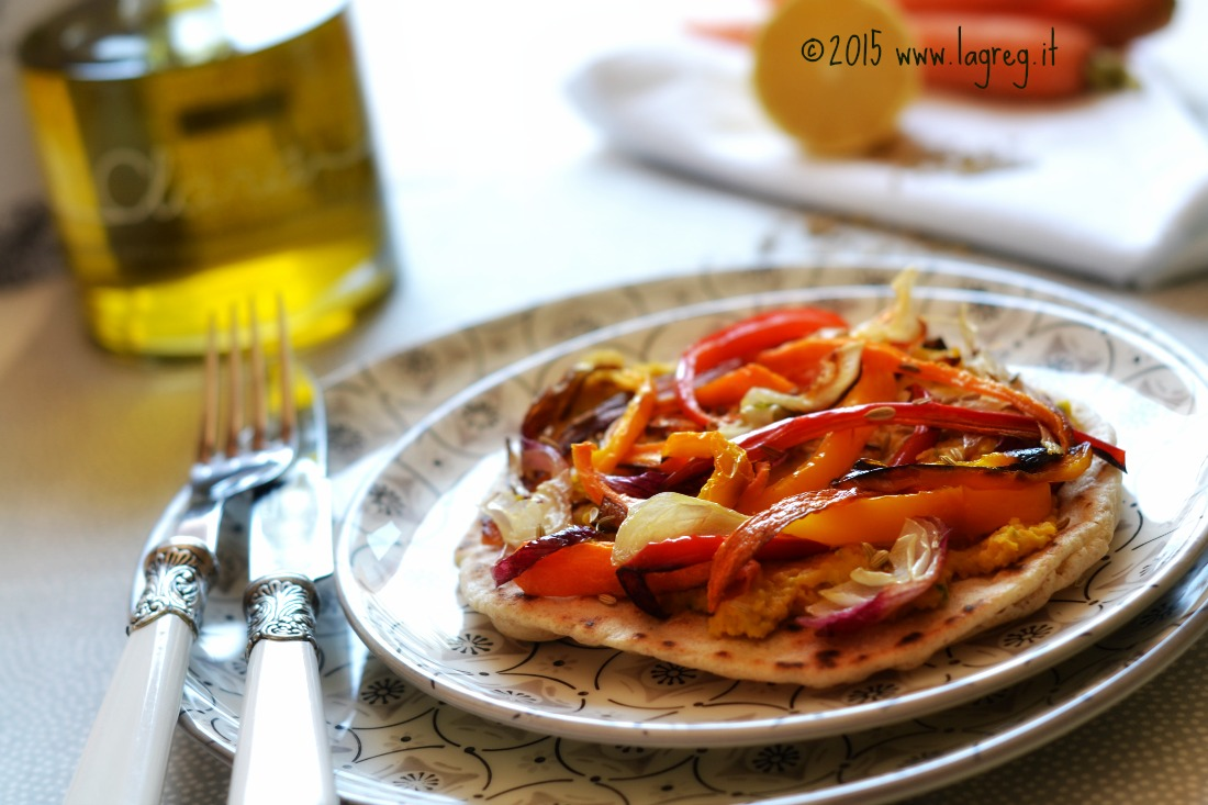 verdure al forno con hummus di carote